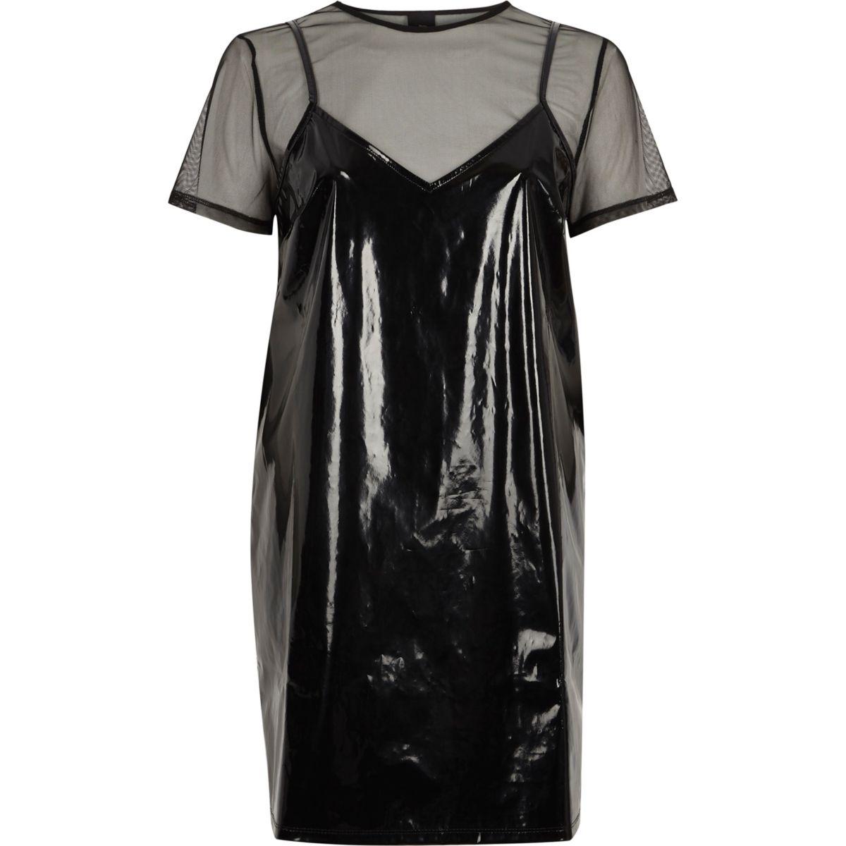 Black vinyl and mesh T-shirt dress