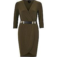 Khaki green belted bodycon wrap dress