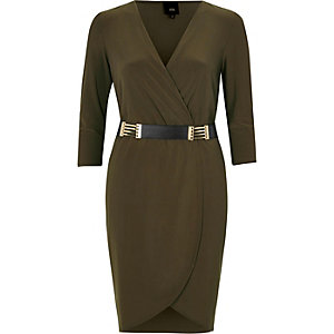 Khaki green belted bodycon wrap dress