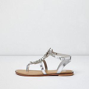 Metallic zilveren sandalen met versiering