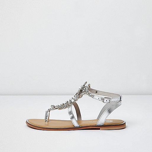 Silver metallic embellished sandals