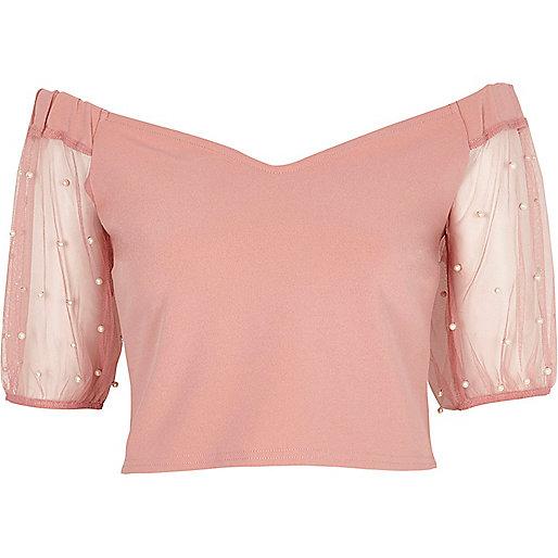Pink bardot mesh puff sleeve crop top