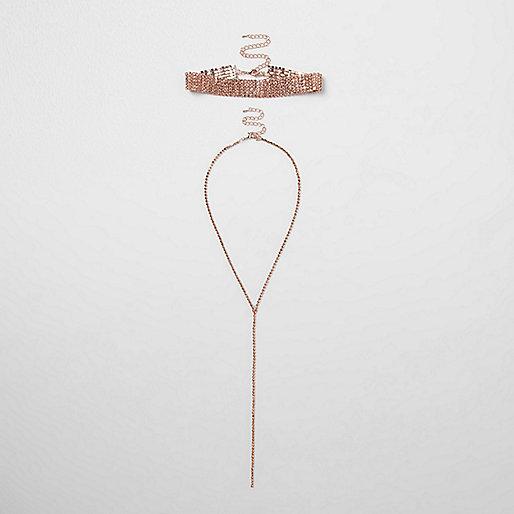Rose gold tone rhinestone choker necklace set