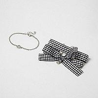 Schwarze Armbänder mit Schleife, Set