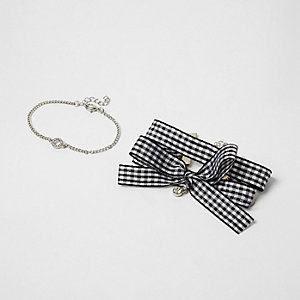 Black gingham bow silver tone bracelet pack