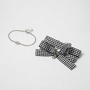 Black gingham bow silver tone bracelet pack