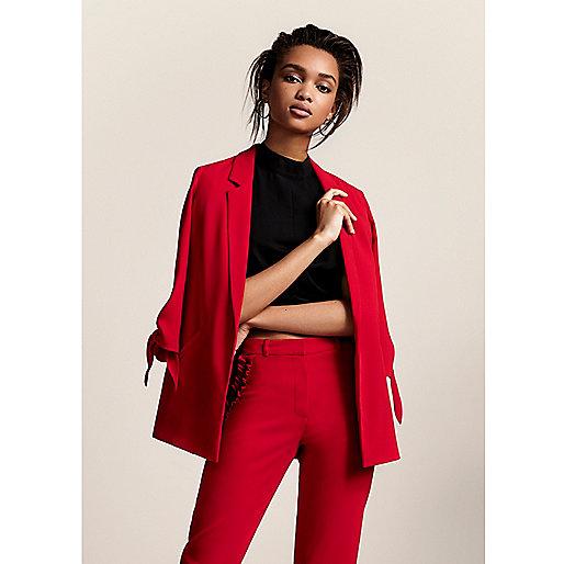 Red tie cuff blazer