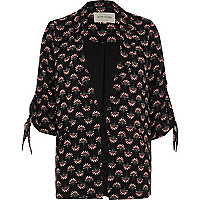 Black fan print tie sleeve blazer