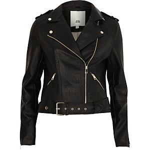 Perfecto en cuir synthétique noir à ceinture