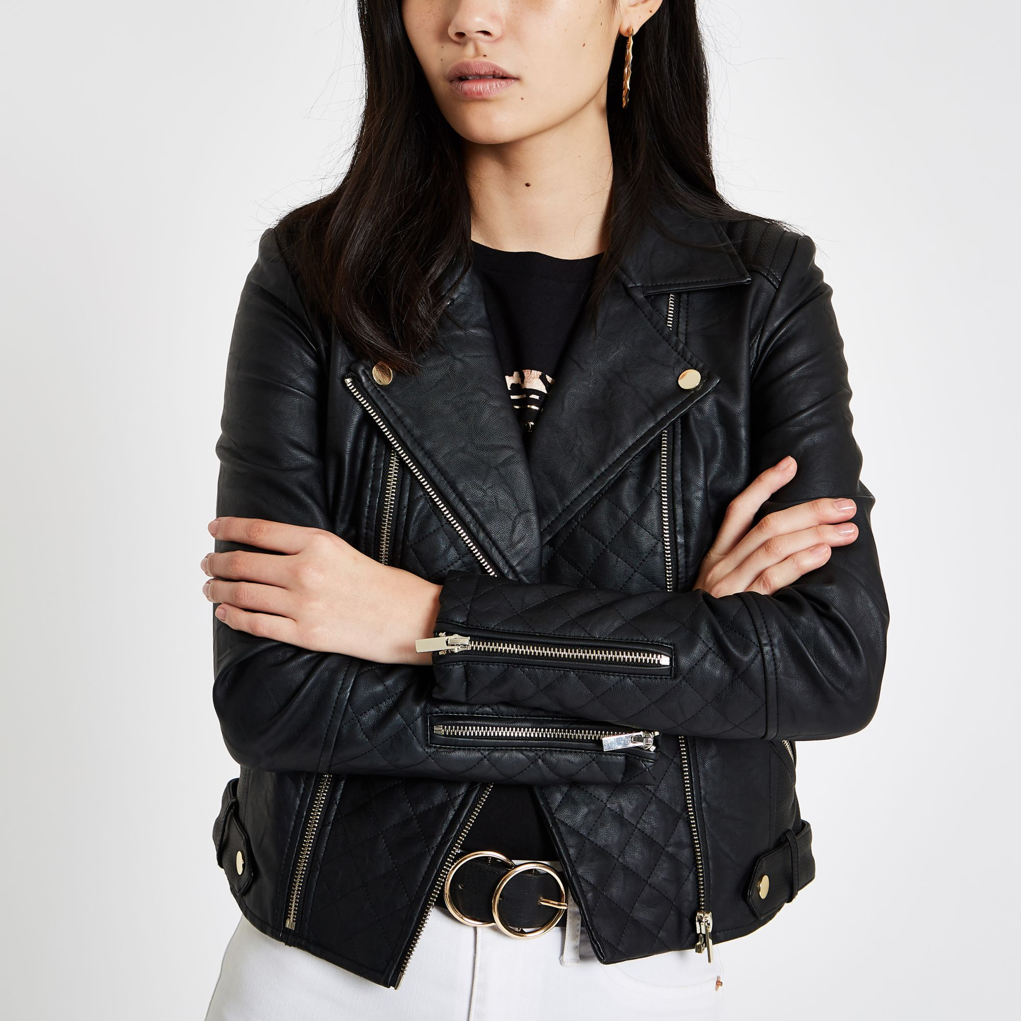 quilt pin by jacketsnordstrom jacket knit royfaux leather sleeve faux hautelook rachel roy quilted on
