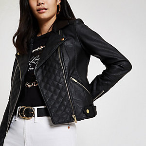 Schwarze, gesteppte Biker-Jacke aus Lederimitat