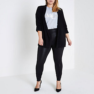 Plus black cracked coated leggings