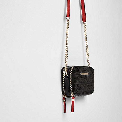 Black double zip chain cross body bag