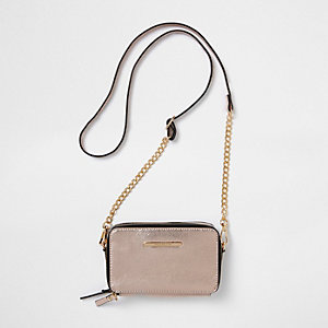 Rose gold double zip chain cross body bag