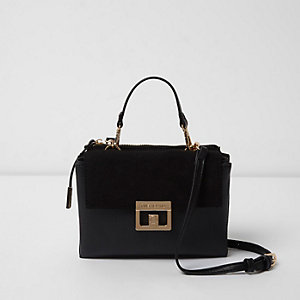 Black double pocket cross body bag