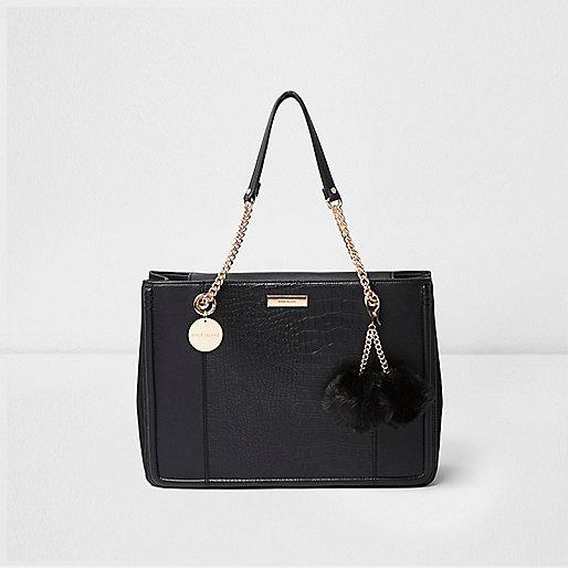Zwarte handtas met ketting en pompons