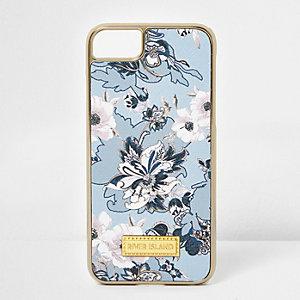 Blauwe telefoonhoes met bloemenprint