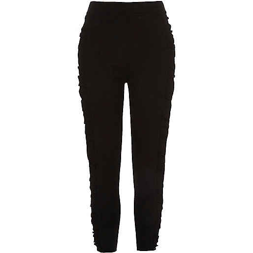 Black frill side ponte leggings