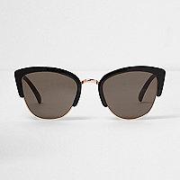 Black half frame smoke lens sunglasses
