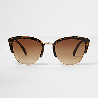 Brown tortoiseshell half frame sunglasses