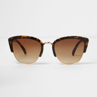Half Frame Glasses Brown : Brown tortoiseshell half frame sunglasses - Retro ...