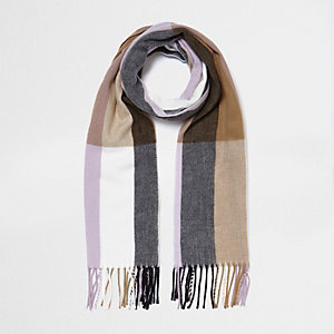 Camel and lilac check scarf