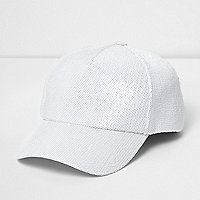 White sequin baseball cap