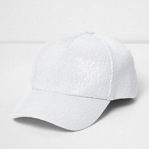 Witte baseballpet met lovertjes