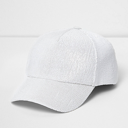 White sequin baseball cap