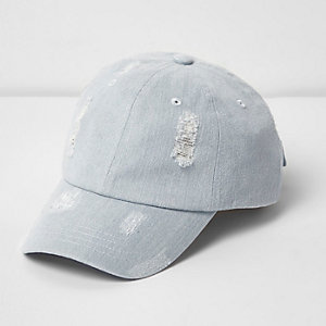 Light blue distressed denim baseball cap