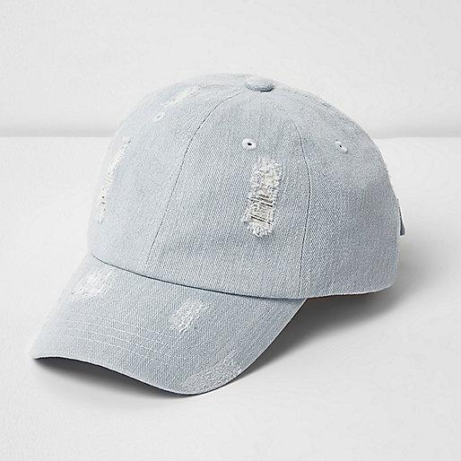 Light blue distressed denim baseball cap