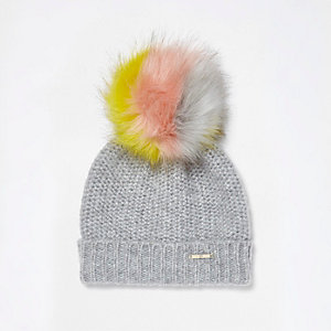Light grey multicolored pom pom beanie hat