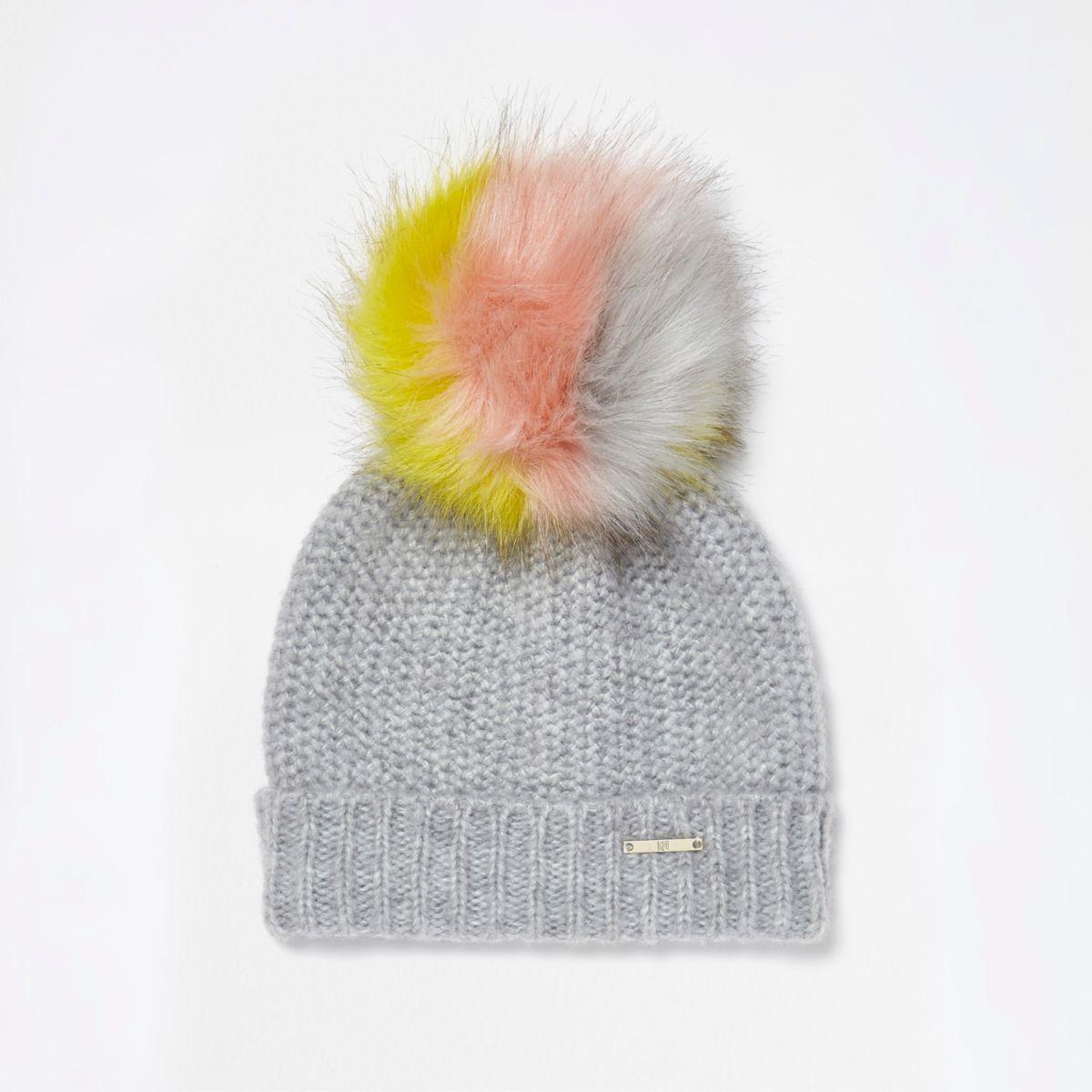 Light grey multicoloured bobble beanie hat