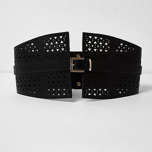 Black laser cut buckle waist belt