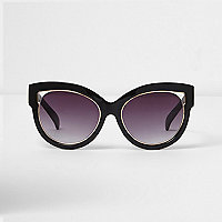 Black cut out gold trim cat eye sunglasses