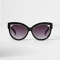 Schwarze Cateye-Sonnenbrille mit Gold-Details
