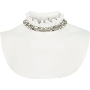 White ruffle high neck embellished collar bib