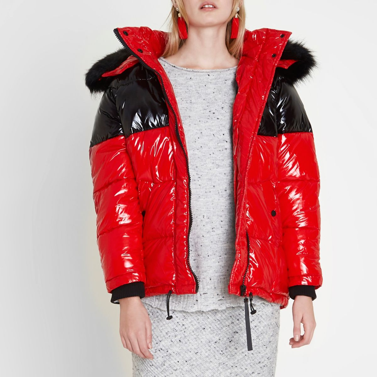 Red color block oversized puffer coat