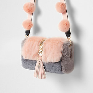 Pink faux fur pom pom cross body bag