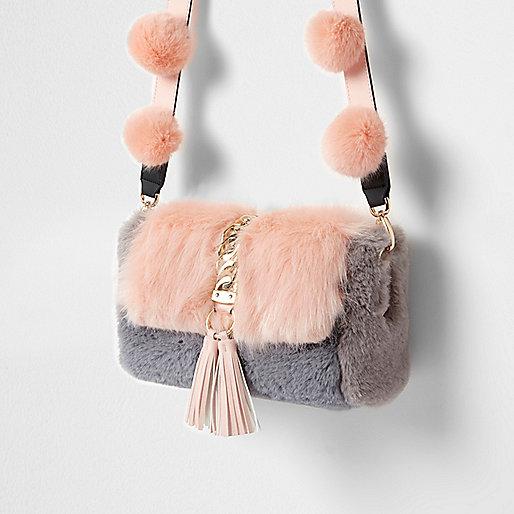 Pink faux fur pom pom cross body bag