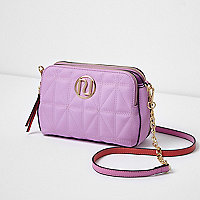 Pink quilted cross body chain bag