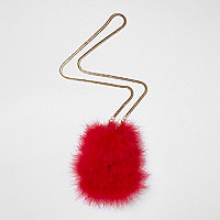 Red feather mini pouch cross body bag