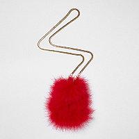 Mini sac bandoulière rouge orné de plumes