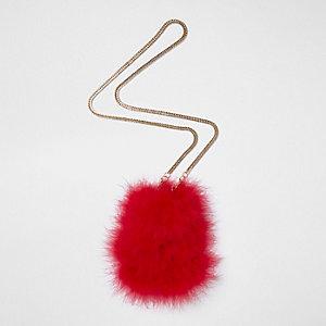 Rode kleine crossbodytas met veren