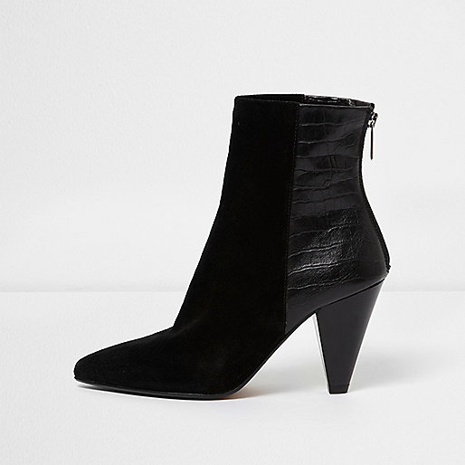 Black zip back cone heel leather ankle boots