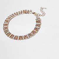 Gold tone orange square rhinestone bracelet
