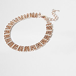 Gold tone orange square rhinestone bracelet
