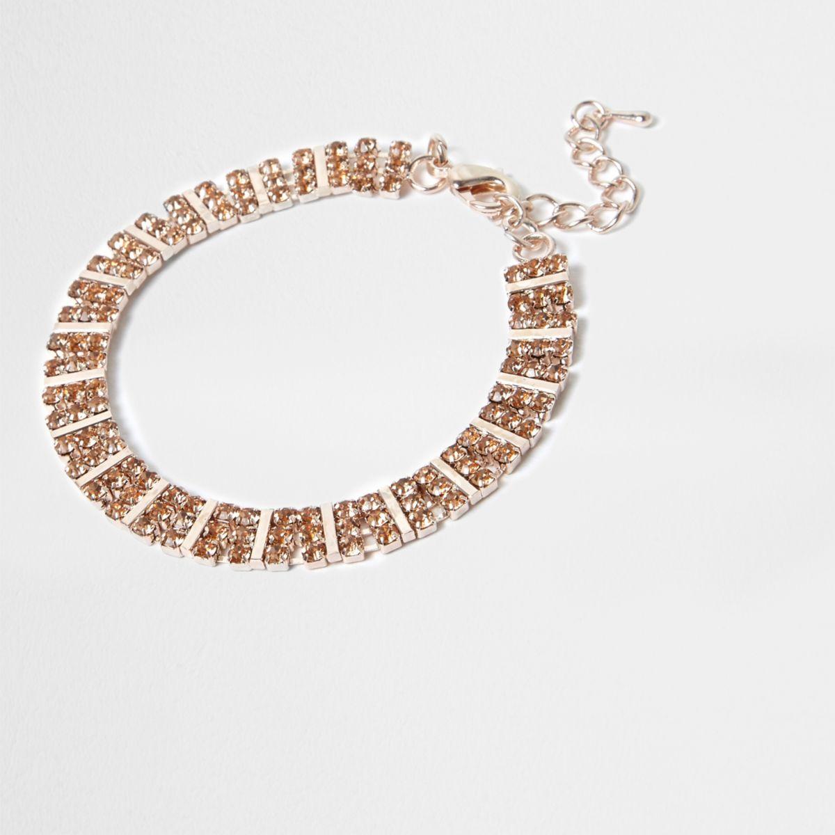Rose gold tone square rhinestone bracelet