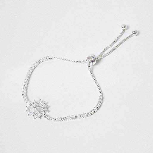 Silver tone cubic zirconia lariat bracelet