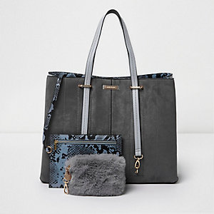Grey long handle fur pouchette tote bag